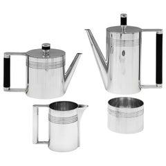 Modernist Sterling Silver 4-Piece Batchelor Tea Set by A. E. Jones, 1995
