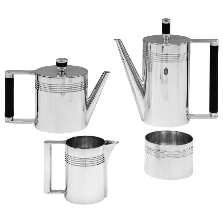Modernist Sterling Silver 4-Piece Batchelor Tea Set by A. E. Jones, 1995 For Sale