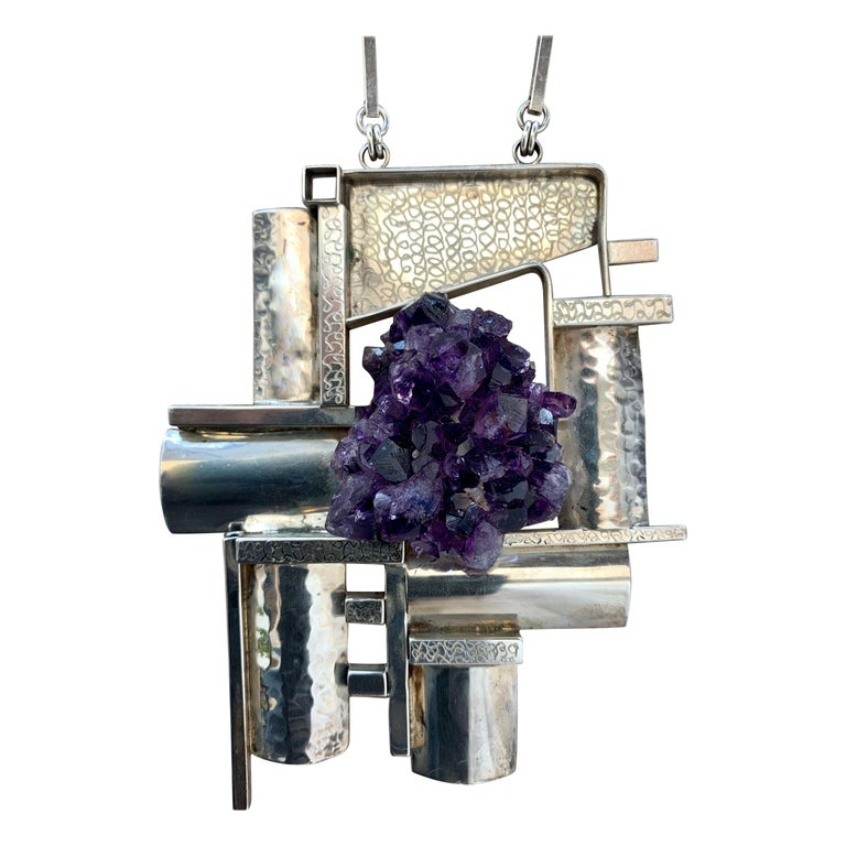 Modernist Sterling Silver and Raw Amethyst Necklace For Sale