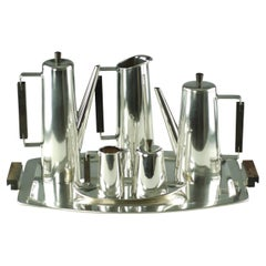 Modernist Sterling Silver and Rosewood Coffee or Tea Set with Tray
