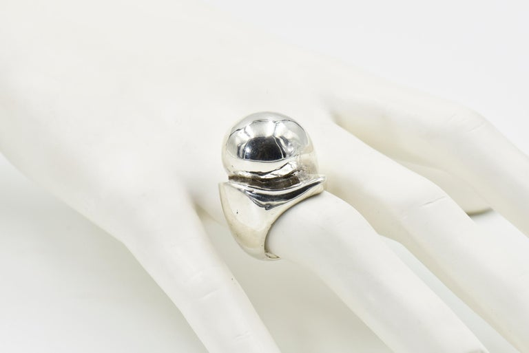Modernist Sterling Silver Dome Ring For Sale 6