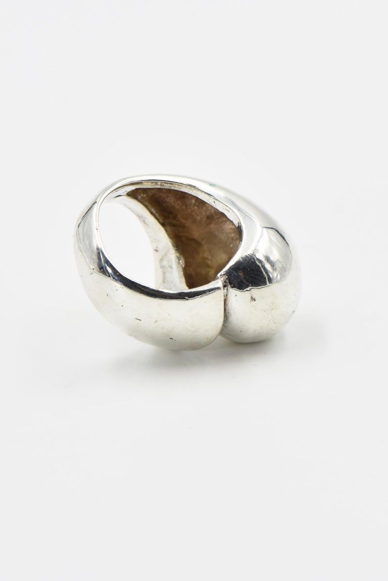 Modernist Sterling Silver Dome Ring For Sale 3
