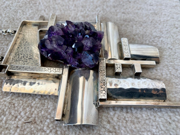 American Modernist Sterling Silver and Raw Amethyst Necklace For Sale