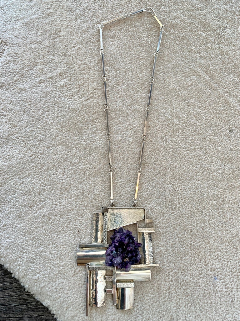 Modernist Sterling Silver and Raw Amethyst Necklace For Sale 2