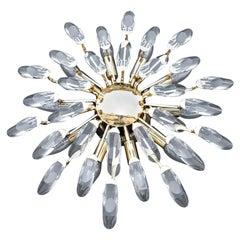 Modernist Stilkronen Style Oscar Torlasco Gold Crystal Round Chandelier, 1970s