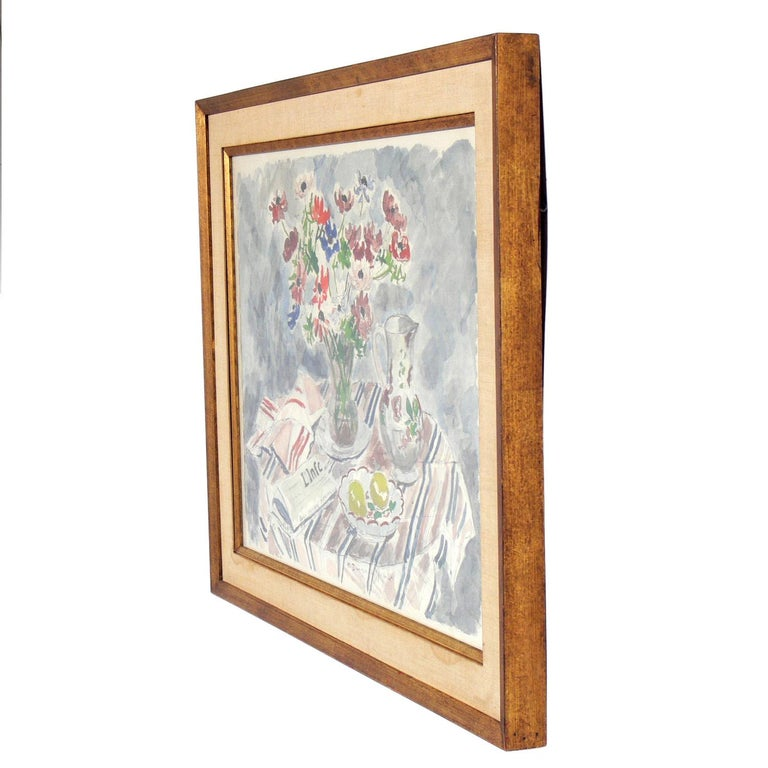 Modernist still life color lithograph by Andre Dunoyer de Segonzac, France, circa 1940s. From a very limited edition, this example is numbered 85 of only 150. Retains it's original linen and gold leafed wood frame.
