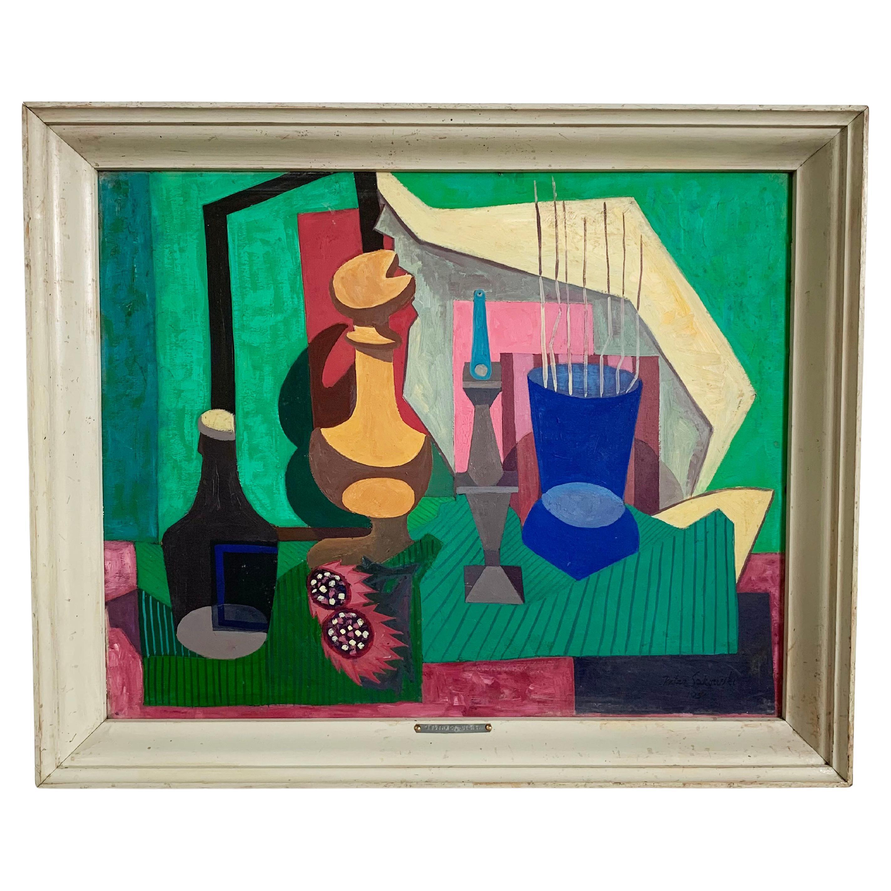 """Modernist Still Life by Peter Paul Sakowski Titled """"Abstract Design"""" D 1951"""