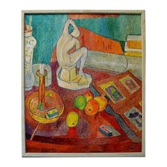 Modernist Still Life, Oil on Canvas, Mid-20th Century