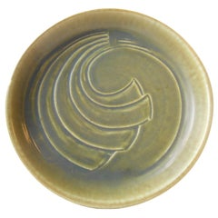 Modernist Stoneware Dish with Green Glaze by Eva Stæhr Nielsen for Saxbo