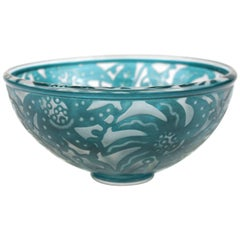 Modernist Studio Art Glass Bowl with Floral Pattern