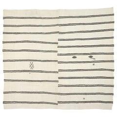 Modernist Style Black and White Striped Kilim Area Rug, Large Flat-Weave Rug