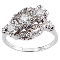 Modernist Style Three-Stone Diamond White Gold Engagement Ring
