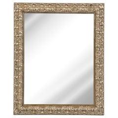 Modernist Stylized Carved Foliate Giltwood Rectangular Mirror