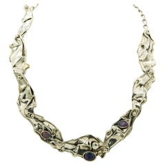 Modernist Stylized Melting Sterling Silver Necklace with Opal Triplets