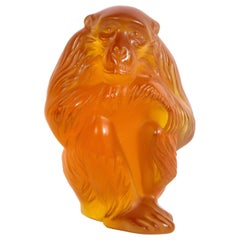 Modernist Stylized Monkey Sculpture in Carnelian Glass Signed by Lalique