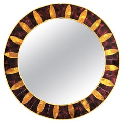 Modernist Sunburst Round Mirror with Garnet and Golden Glass Mosaic Frame
