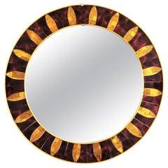 Round Sunburst Mirror with Garnet and Golden Glass Mosaic Frame, 1960s