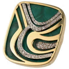 Modernist Swiss 18k Gold, Diamond and Malachite Pendant Brooch by Weber & Cie.