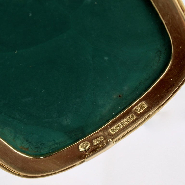 Modernist Swiss 18k Gold, Diamond and Malachite Pendant Brooch by Weber & Cie. For Sale 5