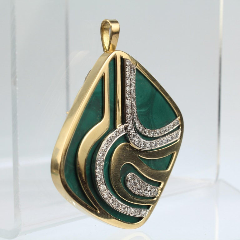 Round Cut Modernist Swiss 18k Gold, Diamond and Malachite Pendant Brooch by Weber & Cie. For Sale