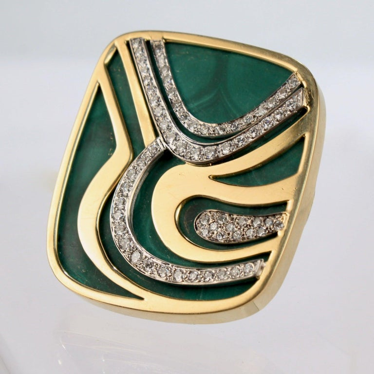 Modernist Swiss 18k Gold, Diamond and Malachite Pendant Brooch by Weber & Cie. For Sale 1