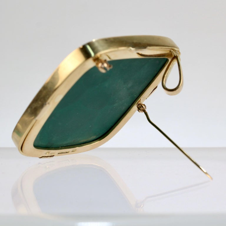 Modernist Swiss 18k Gold, Diamond and Malachite Pendant Brooch by Weber & Cie. For Sale 2