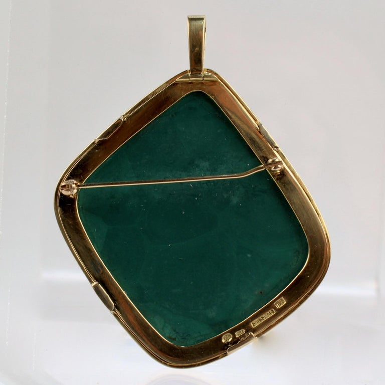Modernist Swiss 18k Gold, Diamond and Malachite Pendant Brooch by Weber & Cie. For Sale 4