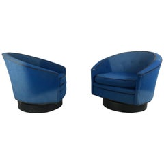 Modernist Swivel Barrel Lounge Chairs, Lawrence Peabody /Richardson Nemschoff