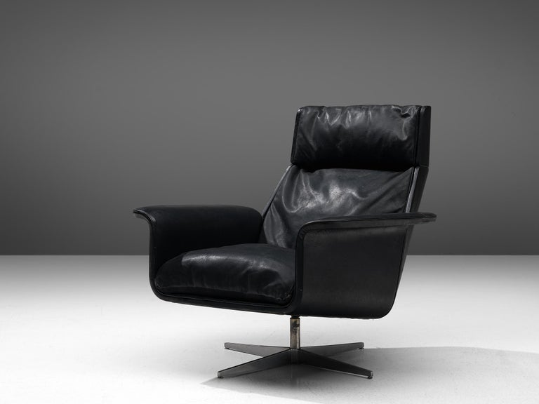 German Modernist Swivel Lounge Chair with Ottoman in Black Leather For Sale
