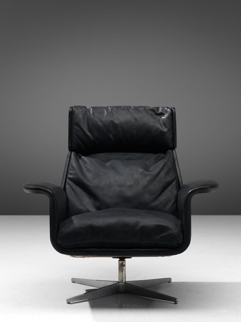 Metal Modernist Swivel Lounge Chair with Ottoman in Black Leather For Sale
