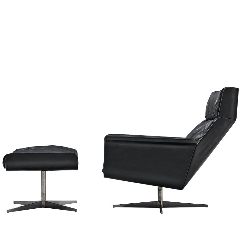 Modernist Swivel Lounge Chair with Ottoman in Black Leather For Sale