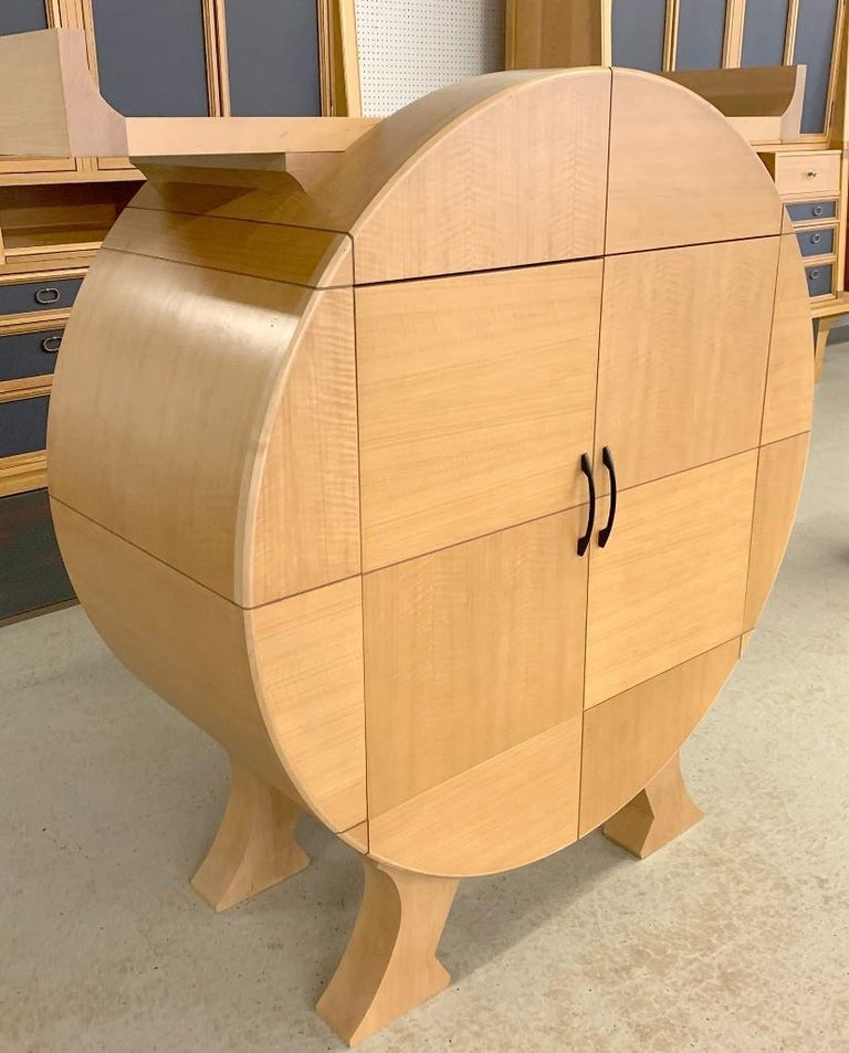Post-Modern Modernist Sycamore Bar Cabinet by Michael Ryan Architects For Sale