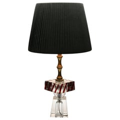 Modernist Table Lamp in Cut Crystal with Platform, Colored in the Mass