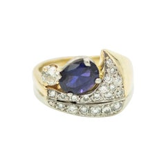 Modernist Tanzanite Diamond Two Tone White and Yellow Gold Cocktail Ring