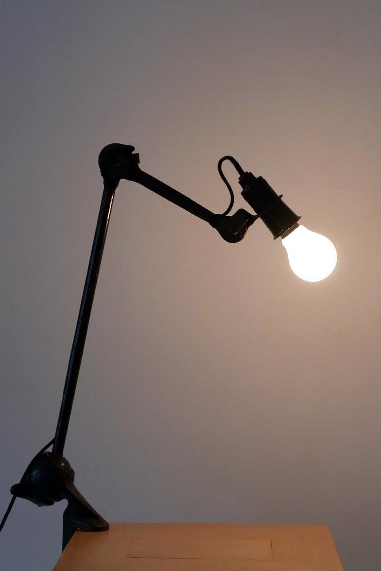 Modernist Task Light or Clamp Table Lamp by Bernard-Albin Gras for Gras, 1920s For Sale 2