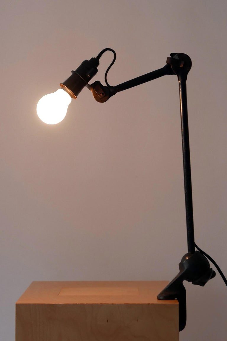 French Modernist Task Light or Clamp Table Lamp by Bernard-Albin Gras for Gras, 1920s For Sale