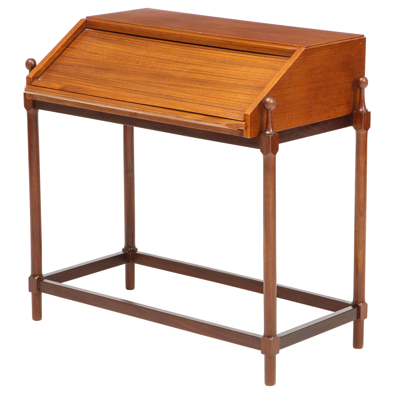 Modernist Teak Rollup Secretary Desk by Fratelli Proserpio, Italy, 1960s