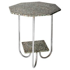 Modernist Terrazzo and Chrome Octagonal Table