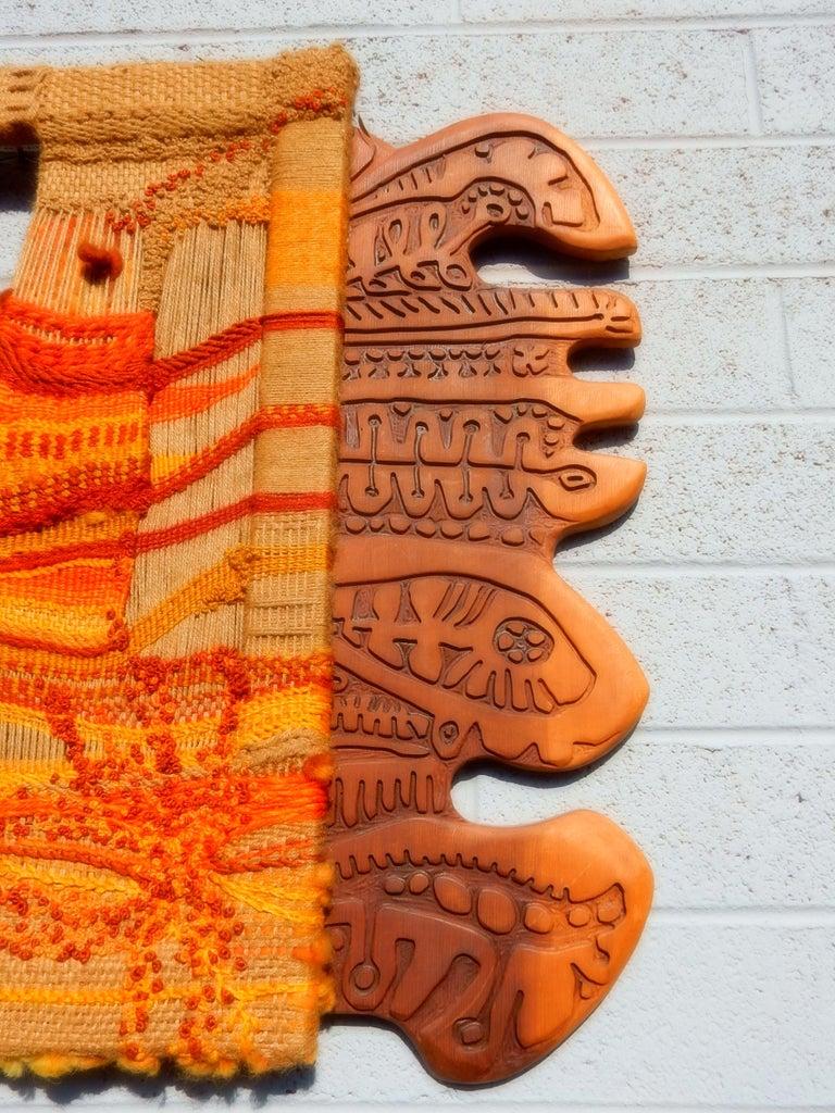 Modernist Textile Fiber Art Weaving and Wood Sculpture For Sale 4