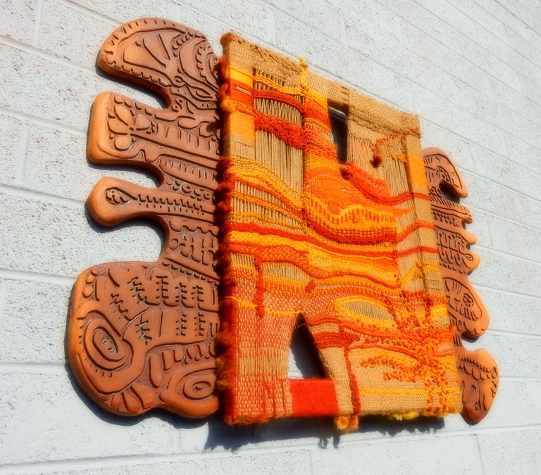 Mid-Century Modern Modernist Textile Fiber Art Weaving and Wood Sculpture For Sale