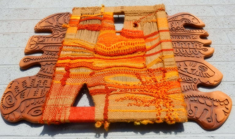 20th Century Modernist Textile Fiber Art Weaving and Wood Sculpture For Sale