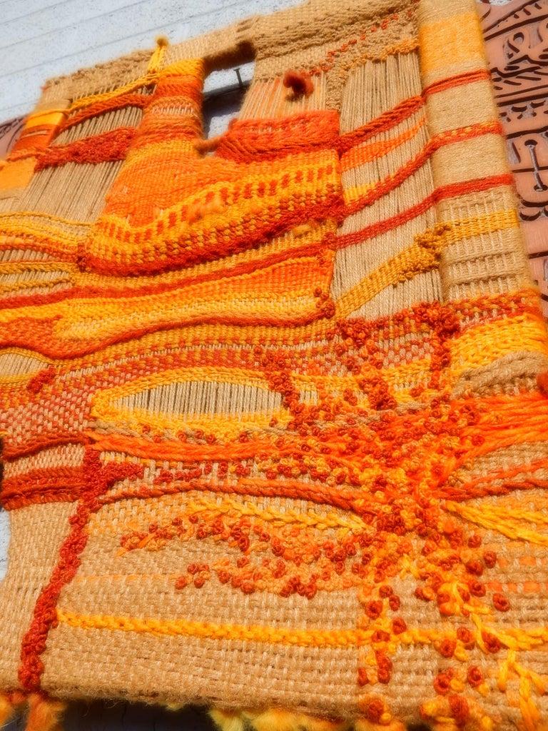 Natural Fiber Modernist Textile Fiber Art Weaving and Wood Sculpture For Sale