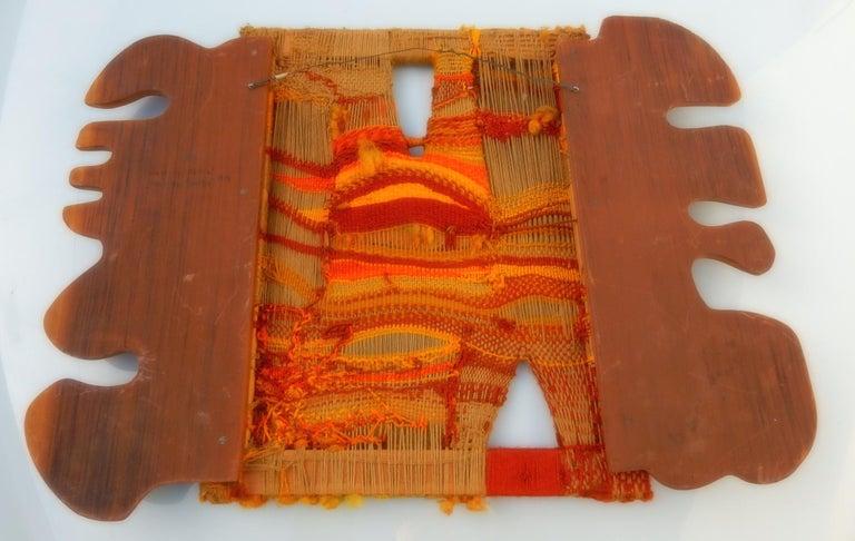 Modernist Textile Fiber Art Weaving and Wood Sculpture For Sale 1