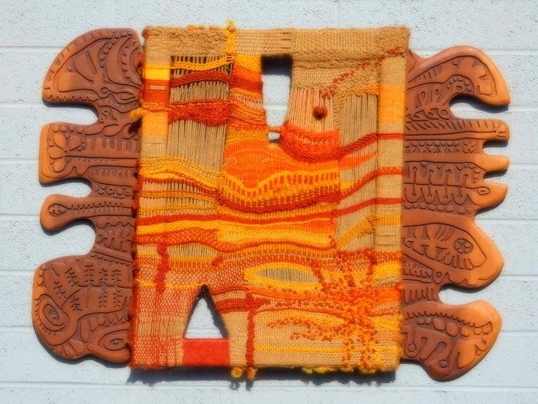 Modernist Textile Fiber Art Weaving and Wood Sculpture For Sale 3