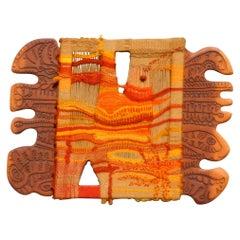 Modernist Textile Fiber Art Weaving and Wood Sculpture