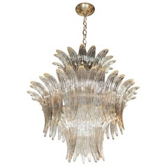 "Modernist Three-Tier ""Palma"" Chandelier in Murano Glass and Brass Fittings"
