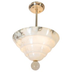 Modernist Tiered Alabaster Chandelier with Orbital Finial and Brass Fittings