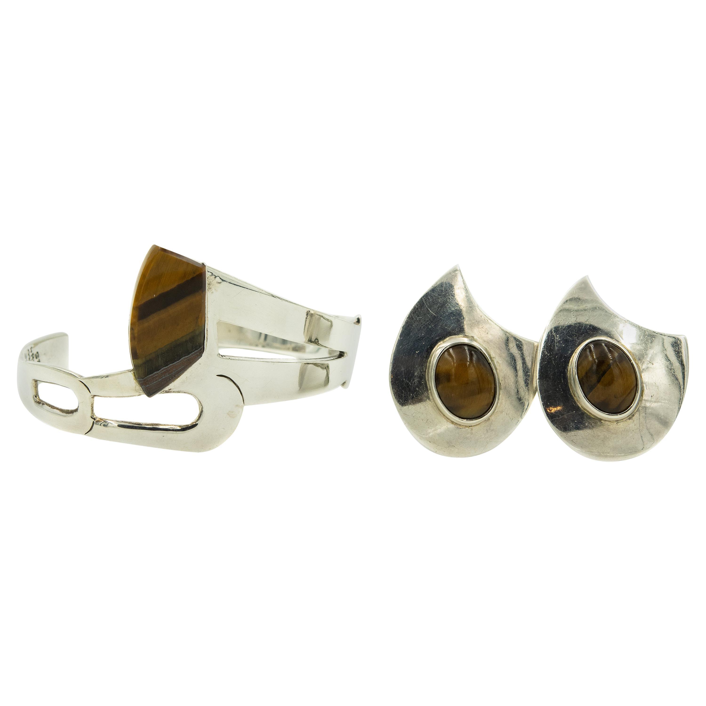 Modernist Tiger's Eye Sterling Silver Cuff Bracelet and Clip-On Earrings Set