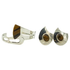 Modernist Tiger's Eye Sterling Silver Cuff Bracelet and Clip-On Earrings Set