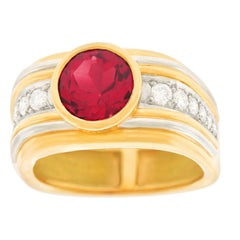 Modernist Tourmaline and Diamond-Set Gold Ring